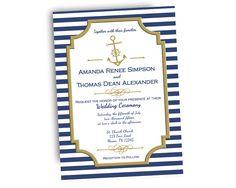 Elegant Navy Nautical Wedding Invitations by PartyPrintExpress