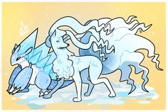 The Alolan versions of Sandslash(ice/steel type) and Ninetails(ice/fairy type) from Pokémon Sun and Moon Pokemon 20, Pokemon Pins, Type Pokemon, Pokemon Team, Lugia, Types Of Fairies, Catch Em All, Mythical Creatures, Religion