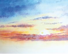 How to paint a sunrise and sunset painting. Watercolor Clouds, Watercolor Art Diy, Watercolor Art Lessons, Watercolor Paintings, Watercolor Tutorials, Watercolours, Painting Tutorials, Sunrise Painting, Original Art For Sale