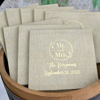 Bella Cocktail Napkin in Taupe with Ivory Imprint Color. These Bella napkins are beautifully printed and so, so soft!