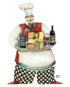 Wine And Cheese Chef. Artwork by Jennifer Lambein. Available as art prints in the Studio Petite shop. chef art wine cheese kitchen
