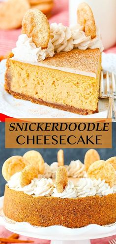 This Snickerdoodle Dulce De Leche Cheesecake has a cinnamon sugar crust, dulce de leche filling and is topped with a layer of white chocolate ganache and more cinnamon sugar! It's a delicious and fun mix of flavors that are perfect for fall! Cinnamon Cheesecake, Best Cheesecake, Cheesecake Recipes, Dessert Recipes, White Chocolate Chips, Chocolate Ganache, Baking Recipes, Baking Tips, Cookie Brownie Bars