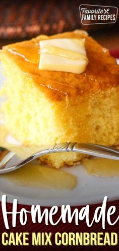 This Cake Mix Cornbread recipe is so good! The bread is moist and light. It is a perfect cross between a yellow cake and cornbread, and there are no surprises. #cornbread #cakemixcornbread #breakfast #sidedish Homemade Cake Mixes, Homemade Soup, Easy Family Meals, Family Recipes, Puff Pastry Recipes, Sweet Pastries, Popular Recipes, Brunch Recipes, Fun Desserts