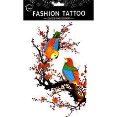 Grashine long last and look like real temporary tattoos Large design sparrows are resting on the plum tree temp tattoo stickers women for chest,belly,back,leg,etc. * Check this awesome product by going to the link at the image. (This is an affiliate link and I receive a commission for the sales) #TemporaryTattoos