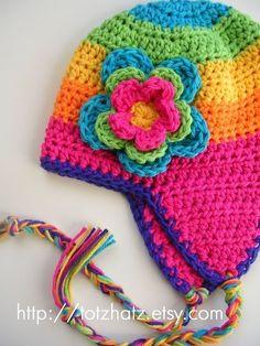rainbow hat with flaps