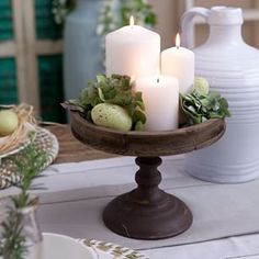 A simple yet elegant way to add a little 'Easter' to your home is to introduce e. A simple yet elegant way to add a little 'Easter' to your home is to introduce eggs to your existing decor Cake Stand Decor, Tray Decor, Kitchen Island Decor, Kitchen Island Centerpiece, Kitchen Ideas, Decorating Coffee Tables, Rv Decorating, Rustic Decor, Farmhouse Table Decor