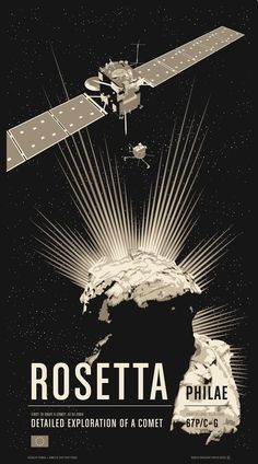 "Poster #8: Rosetta / Philae. Available as a limited edition 20x36"" screen print or as archival digital prints at 17x22"" or 13x19""."