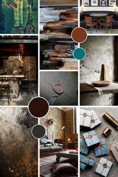 Leather, rust and oxidised copper brand moodboard Graphic Design Branding, Identity Design, Branding Portfolio, Teal, Turquoise, Blue, Portfolio Website Design, Concept Board, Photography Branding