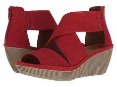 CLARKS CLARKS - CLARENE GLAMOUR (RED NUBUCK) WOMEN'S SANDALS. #clarks #shoes #