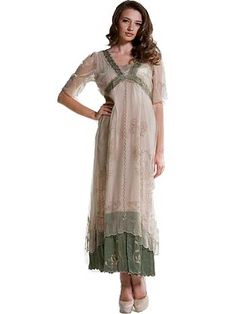 Nataya Sage Embroidered Tulle Downton Abbey Tea Dress/Gown...imagine white  and cream combination...lengthen and maybe consider small train