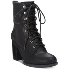 American Rag Laina Block-Heel Combat Booties, ($80) ❤ liked on Polyvore featuring shoes, boots, ankle booties, black, army boots, lace up boots, lace up booties, military lace up boots and black lace up ankle booties