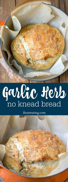 Garlic Herb No Knead Bread is an easy recipe that makes a delicious, flavorful, artisan loaf of bread in the Dutch oven with little hands-on work! Great no knead bread variation! Recipes no oven Garlic Herb No Knead Bread Artisan Bread Recipes, Yeast Bread Recipes, Bread Recipes For Oven, Easy Dutch Oven Recipes, Cornbread Recipes, Jiffy Cornbread, Artisan Food, Dutch Oven Bread, Dutch Oven Cooking