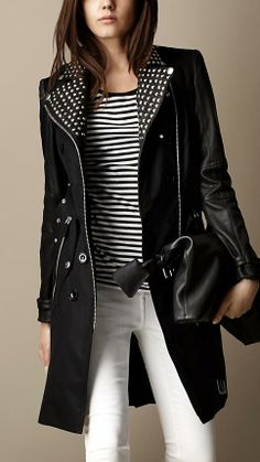 Burberry Brit Long Leather Detail Biker Trench Coat