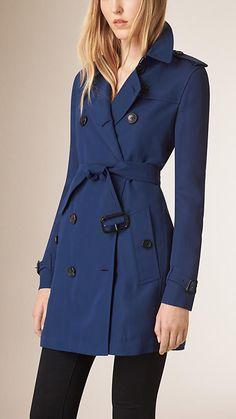 Marine blue Modern Fit Silk Blend Trench Coat - Image 1