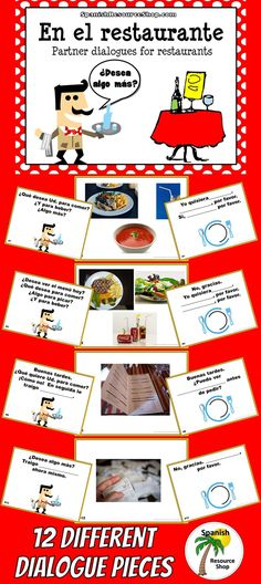 What a fun way to practice restaurante dialogue... using the pictures that the students see on the screen!