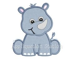 Zoo Baby Rhino Applique Machine Embroidery by AppliquetionStation