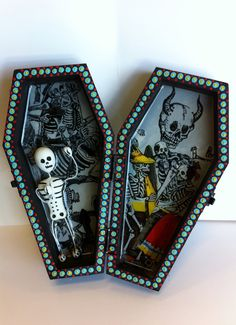 Skeleton Collage in a Coffin. $29.00, via Etsy.