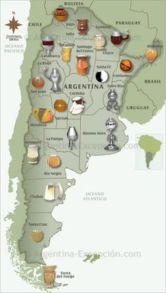 Maps of Argentina ▷ Map of mates in Argentina: see our maps and discover our usefull information about Argentina. Love Mate, Argentina Culture, Yerba Mate Tea, Romantic Escapes, Spanish Culture, Ushuaia, South America Travel, World, Mendoza