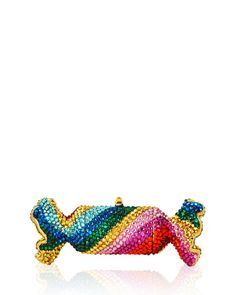 Judith Leiber Couture Rainbow Twist Crystal Candy Pillbox, Gold/Multi