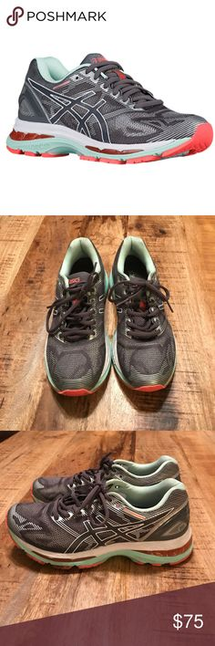 Asics GEL-Nimbus 19 running sneakers size 7 Worn once indoor and in great condition! Only sign of wear is on the soles. Color is a gray/ silver with mint and coral accents. Size 7 Asics Shoes Sneakers