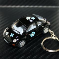vw beetle keychain | Volkswagen VW New Beetle Keychain Key Chain Black with Flowers -