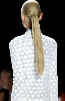 Try a sleek, straight equestrian pony tail. Its simple, easy, and looks chic.