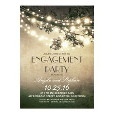 tree branches & string lights engagement party card