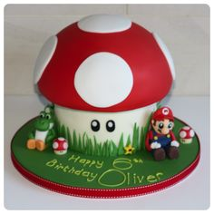 Yoshi birthday cakes | How to make a Mario and Yoshie Birthday Cake Cakes, bakes & cookies