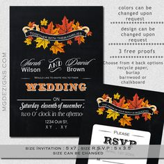 Printable Chalkboard Fall Maple leaves, fall wedding invitations and rsvp template on Etsy, $25.00
