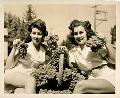 Shot at Lodi Grape & Harvest Festival:  1941 Grape Harvest queens with classic Tokay grapes.