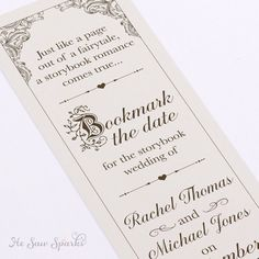 Save the Date Bookmarks Luxury Fairytale Bookmark Save the Date Diy Printable Wedding Cards, Diy Wedding, Wedding Ideas, Dream Wedding, Wedding Stuff, Forest Wedding, Trendy Wedding, Farm Wedding, Wedding Details
