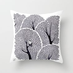 Owl in the forest Throw Pillow by Yuminette - $20.00