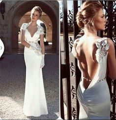 Beautiful open back wedding dress with lace sleeves