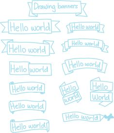 Banner- a heading or advertisement appearing on a web page in the form of a bar, column, or box. Hello Word, Visual Note Taking, Visual Thinking, Banner Drawing, Manga Drawing Tutorials, Sketch Notes, Lettering Styles, Bullet Journal Inspiration, Journal Ideas