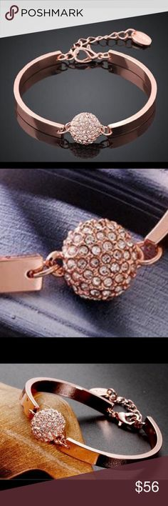 18K Rose Gold Rhinestone Bracelet Beautiful and new! Jewelry Bracelets