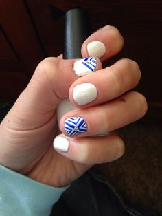 Simple nail design for short nails | white and royal blue | accent nail | tribal print