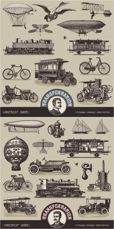 vintage graphics  | ... transport and vehicles illustrations for your retro styled graphic