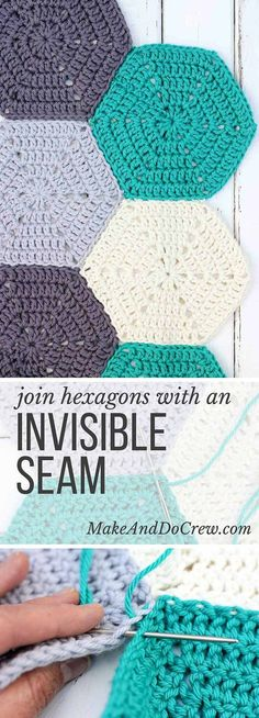 This photo tutorial will show you how to join crochet hexagons with a technique that results in an invisible seam. Great for sewing hexagons together for an afghan, but can also work for granny squares or other crochet pieces. | MakeAndDoCrew.com: