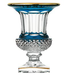 Saint Louis Thistle Versailles vase Sky Blue Gold Engraving decorative accessory Crystal. Harlequin London.