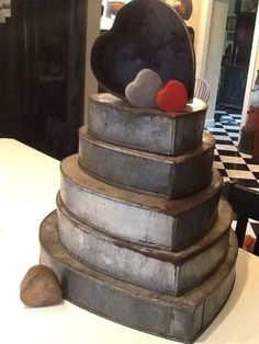 Fourth quarter 19 th C. Set of graduated tin heart shaped baking pans. The largest heart pan measuring 19 x x . Vintage Valentines, Valentine Heart, Happy Valentines Day, Valentine Ideas, I Love Heart, Happy Heart, Humble Heart, Prim Decor, Vintage Tins