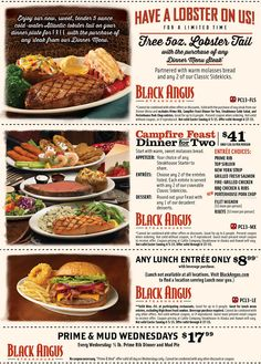 Black Angus coupons & Black Angus promo code inside The Coupons App. Free lobster with your steak & more at Black Angus steakhouse April Black Angus Coupons, Dinner Menu, Dinner Plates, Top Sirloin Steak, Food Menu Design, Restaurant Marketing, Free Printable Coupons, Garlic Mashed Potatoes, Lobster Tails