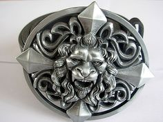 Silver Lion King Belt and Buckle - Oval Cross Leather Belts and Buckles U.K