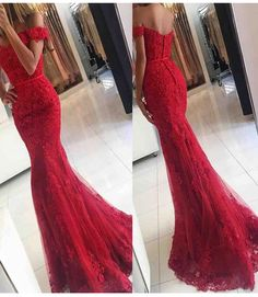 Lace Mermaid Off Shoulder Red Prom Dresses,Charming Evening Dress,Sexy prom dress,L85 - 221