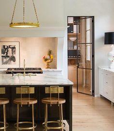 Beautiful kitchen with island and #kitchen stools