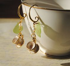 Dangle earrings. Tea Cup Earrings. Tea Party Earrings. Mini Tea Cups, Enamel Cup Earrings, Art Jewelry, Gift for her by angel4eva on Etsy