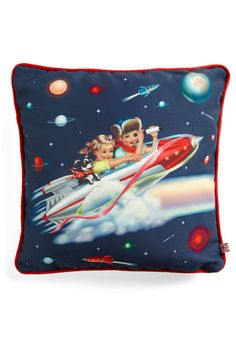 Space adventure pillow, Fiona Hewitt art - $40