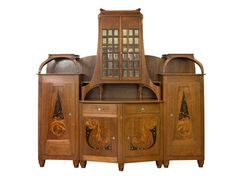 Bernhard Pankok (1872-1943), Vereinigte Werkstaetten, Walnut, Various Fruitwoods and Glass Buffet.