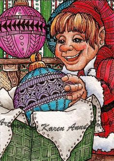 #Original #ACEO Christmas Gift Wrapping Santa's Elf zentangle art Karen Anne Brady