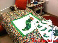 The very hungry caterpillar reversable COT BED quilt baby blanket