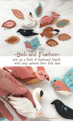 Sew your own flock of birds with this customizable PDF felt sewing pattern from little dear. #feltanimals #feltpattern #feltornaments #feltfeathers Craft Patterns, Sewing Patterns, Embroidery Patterns, Hand Embroidery, Nature Crafts, Felt Ornaments, Felt Animals, Fabric Crafts, Fiber Art